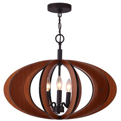 Fins 3-Light Foyer Pendant Finish: Cherry/Bronze