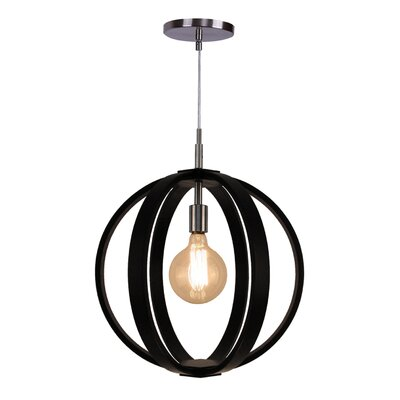 Celestial 1-Light Foyer Pendant Finish: Satin Nickel, Shade color: Wenge