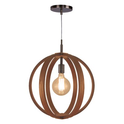 Celestial 1-Light Foyer Pendant Shade color: Ash, Finish: Brushed Bronze
