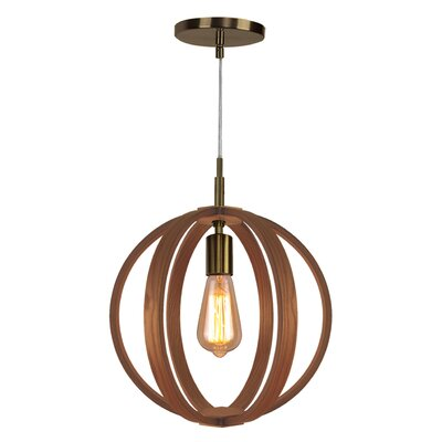 Celestial 1-Light Globe Pendant Finish: Brushed Bronze, Shade color: Ash