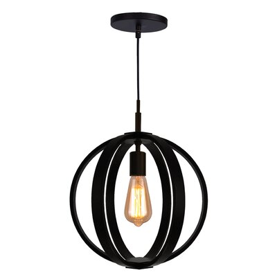Celestial 1-Light Globe Pendant Finish: Metallic Bronze, Shade color: Wenge