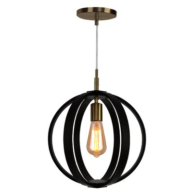 Celestial 1-Light Globe Pendant Finish: Brushed Bronze, Shade color: Wenge