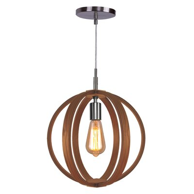 Celestial 1-Light Globe Pendant Finish: Satin Nickel, Shade color: Ash