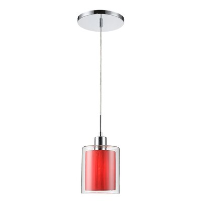 Alaina 1-Light Mini Pendant Shade Color: Maroon, Finish: Metallic Bronze