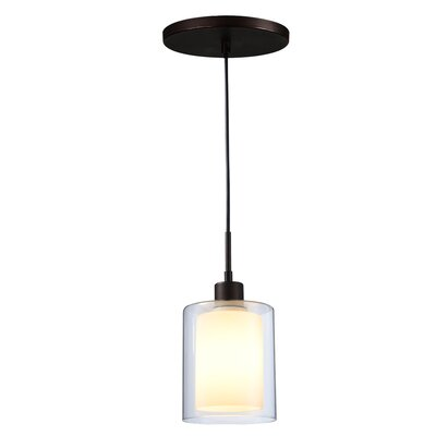 Alaina 1-Light Mini Pendant Finish: Metallic Bronze, Shade Color: Opal
