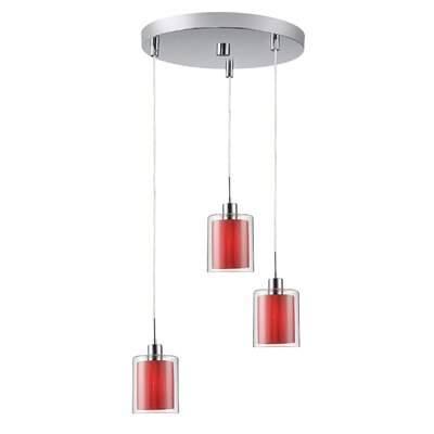 Alaina 3-Light Pendant Finish: Chrome, Shade Color: Maroon