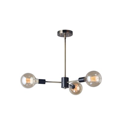 Ethan 3-Light Cluster Pendant Finish: Satin Nickel/Bronze