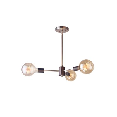 Ethan 3-Light Cluster Pendant Finish: Brushed Brass/Black
