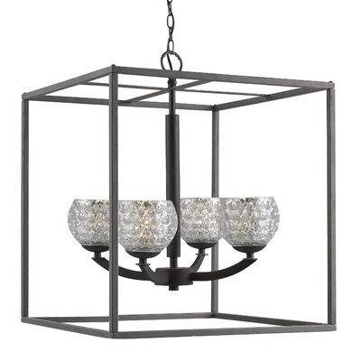 Mirage 4-Light Foyer Pendant Shade Color: Clear, Finish: Satin Nickel