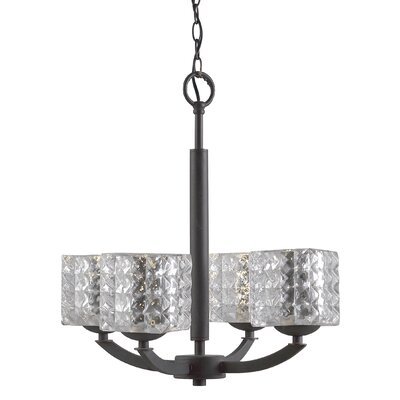 Mirage 4-Light Shaded Chandelier Finish: Satin Nickel, Shade Color: Clear