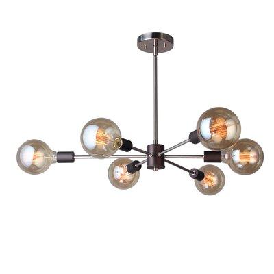 Ethan 6-Light Sputnik Chandelier Finish: Brushed Brass/Black