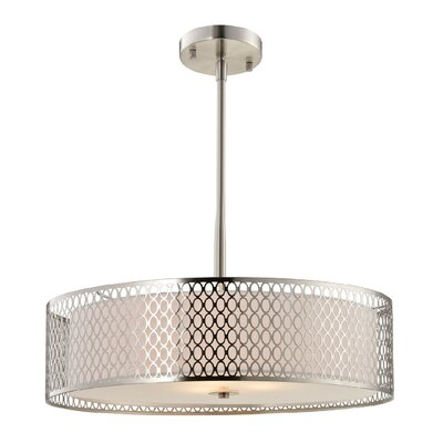 Ferrigno 3-Light Drum Pendant Finish: Satin Nickel