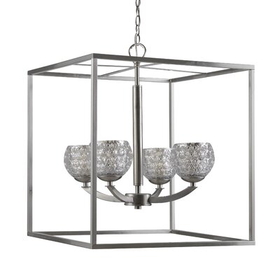 Mirage 4-Light Foyer Pendant Finish: Satin Nickel, Shade Color: Mercury