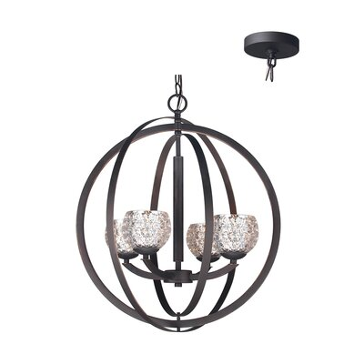 Mirage 4-Light Globe Pendant Shade Color: Mercury, Finish: Bronze