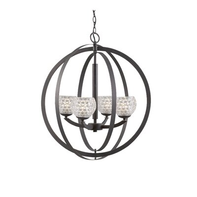 Mirage 4-Light Globe Pendant Finish: Bronze, Shade Color: Clear