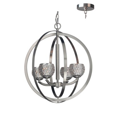 Mirage 4-Light Globe Pendant Finish: Satin Nickel, Shade Color: Mercury