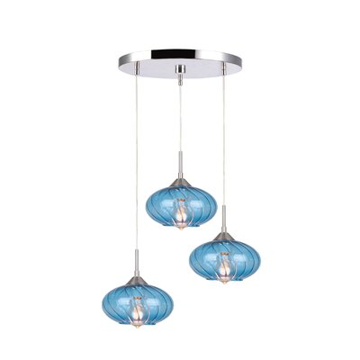 Madison 3-Light Cascade Pendant Finish: Satin Nickel, Shade Color: Blue