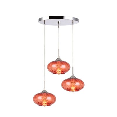 Madison 3-Light Cascade Pendant Finish: Satin Nickel, Shade Color: Red