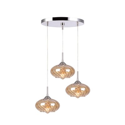 Madison 3-Light Cascade Pendant Finish: Satin Nickel, Shade Color: Plated Amber