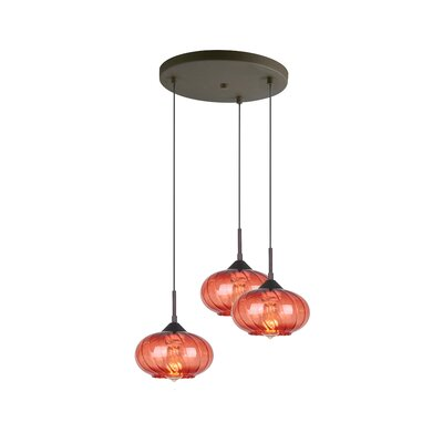 Madison 3-Light Cascade Pendant Finish: Bronze, Shade Color: Red