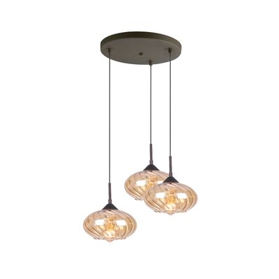 Madison 3-Light Cascade Pendant Finish: Bronze, Shade Color: Plated Amber