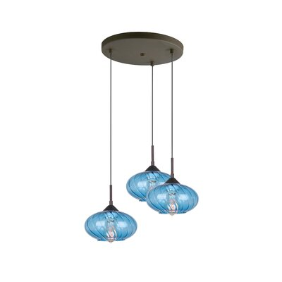 Madison 3-Light Cascade Pendant Finish: Bronze, Shade Color: Blue