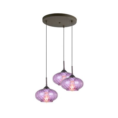 Madison 3-Light Cascade Pendant Finish: Bronze, Shade Color: Purple