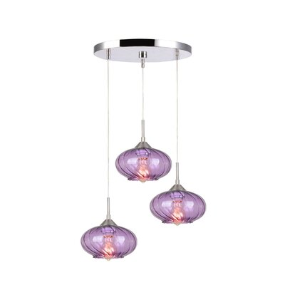 Madison 3-Light Cascade Pendant Shade Color: Purple, Finish: Satin Nickel