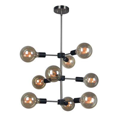 Ethan 9-Light Cluster Pendant Bulb Type: G125, Finish: Brushed Brass/Bronze