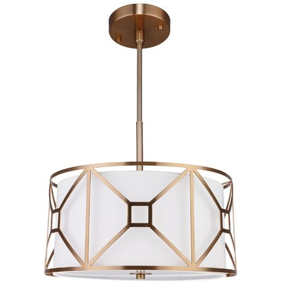 Hultgren 3-Light Drum Pendant Finish: Vintage Brass, Size: 8.5 H x 17 W x 17 D