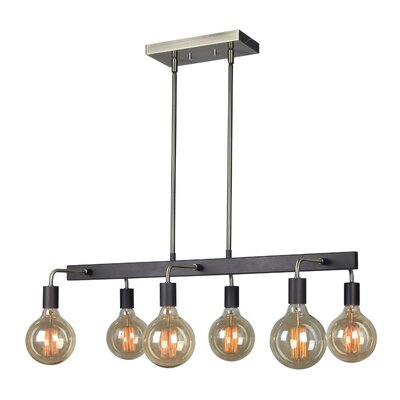 Ethan 6-Light Kitchen Island Pendant Finish: Satin Nickel/Black, Bulb Type: ST64
