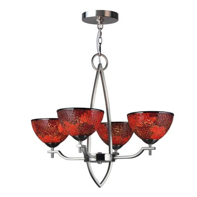 Alexis 4-Light Shaded Chandelier Shade Color: Red