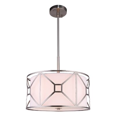 Hultgren 3-Light Drum Pendant Finish: Satin Nickel, Size: 8.5 H x 17 W x 17 D