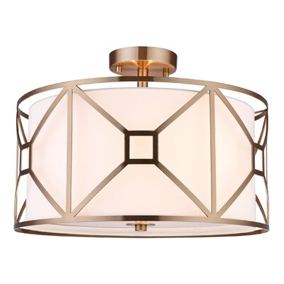 Hultgren 3-Light Semi Flush Mount Finish: Vintage Brass, Size: 8.5 H x 20 W x 20 D