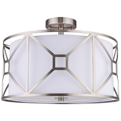 Hultgren 3-Light Semi Flush Mount Finish: Satin Nickel, Size: 8.5 H x 20 W x 20 D