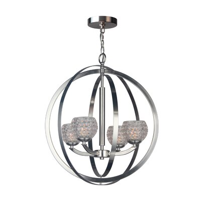 Mirage 4-Light Globe Pendant Shade Color: Clear, Finish: Satin Nickel