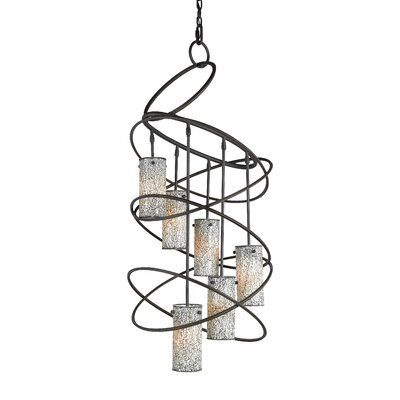 Loop 6-Light Shaded Chandelier Finish: Black, Shade: Amber Mosaic