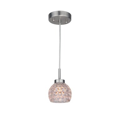 Sadowski 1-Light Glass Mini Pendant Finish: Satin Nickel