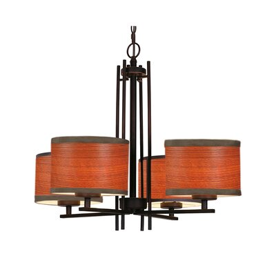 Juhasz 4-Light Drum Chandelier Finish: Nickel, Shade Color: Brulee