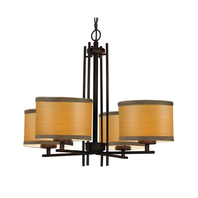 Juhasz 4-Light Drum Chandelier Finish: Nickel, Shade Color: Nougat