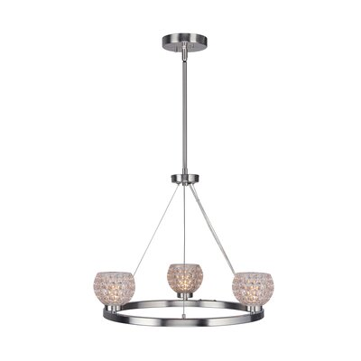 Sadowski Crystal Ball 3-Light Mini Chandelier