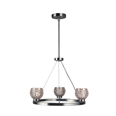 Sadowski Modern Crystal Ball 3-Light Mini Chandelier