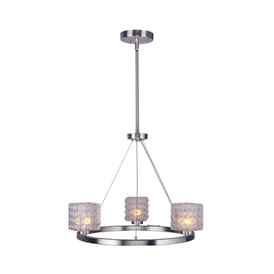 Sadowski Crystal Square 3-Light Mini Chandelier