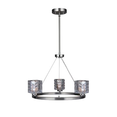 Sadowski Modern Crystal Square 3-Light Mini Chandelier