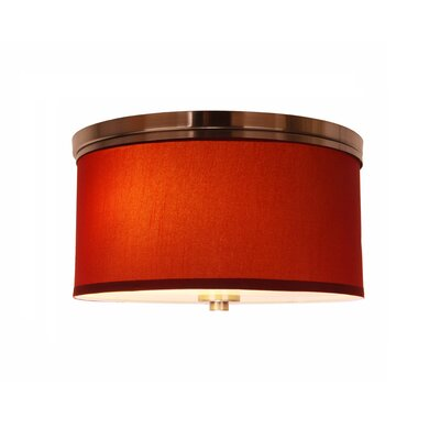 Juhasz 3-Light Drum Flush Mount Shade Color: Maroon