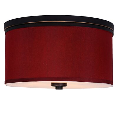 Juhasz 3-Light Metal Flush Mount Shade Color: Maroon