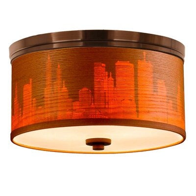 Juhasz Contemporary 3-Light Drum Flush Mount Shade Color: Nougat