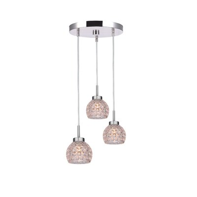 Sadowski 3-Light Bell Cluster Pendant Finish: Satin Nickel