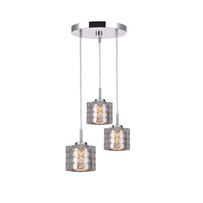 Sadowski 3-Light Drum Cluster Pendant Finish: Satin Nickel