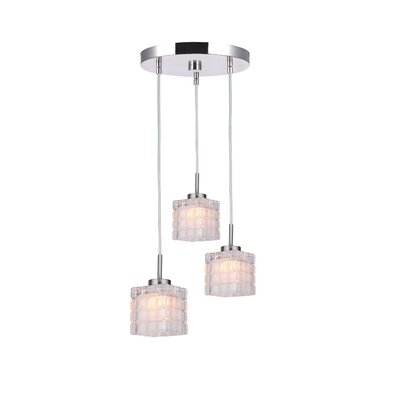Sadowski Contemporary 3-Light Cluster Pendant Finish: Satin Nickel